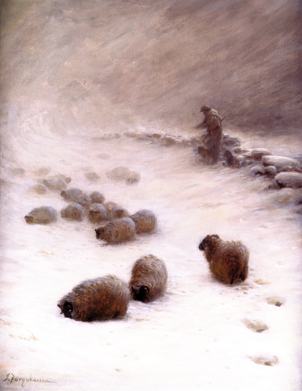 Blow, Blow, Thou Wintery Wind by Joseph Farquharson