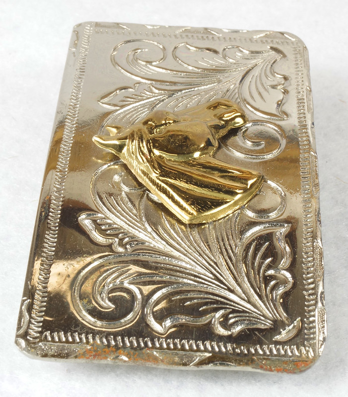 RD15035 Vintage Rockmount Denver Nickel Silver Horse Head Belt Buckle DSC07425