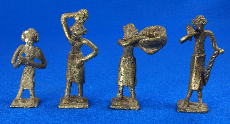 RD15104 4 Vintage African Hand Made Folk Art Primitive Figurines Solid Cast Brass Burkina Faso Yoruba West Africa DSC07096
