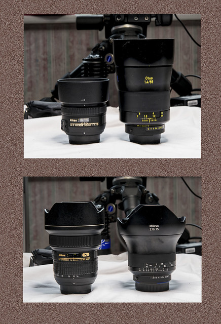 A little comparison Top l Nikon 50 1.4 R Zeiss Otus 55 1.4 Bottom L Nikon 14-24 2.8 R Zeiss Milvus 15 2.8 All lens are great for different purposes All Nikon are Autofocus/Manual All Zeiss are Manual