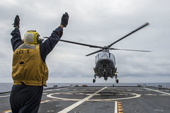 A Philippine Navy helicopter lands aboard the littoral combat ship USS Fort Worth (LCS 3) in the Sulu Sea during the at-sea phase of CARAT Philippines. (U.S. Navy/MC2 Joe Bishop)