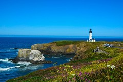 horizon, cape, sea, ocean, lighthouse, headland, bay, island, promontory, shore, terrain, cove, coast, tower, cliff,