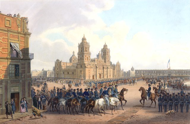 Fall of Mexico City during the Mexican-American War, painting by Carl Nebel
