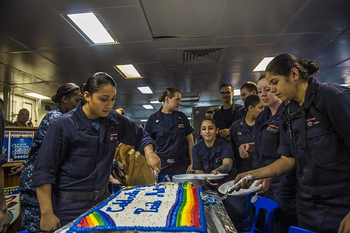 INDIAN OCEAN (NNS) -- Sailors and Marines aboard the USS Essex (LHD 2) held a command-wide observance ceremony in honor and support of Lesbian, Gay, Bisexual and Transgender (LGBT) Pride Month.