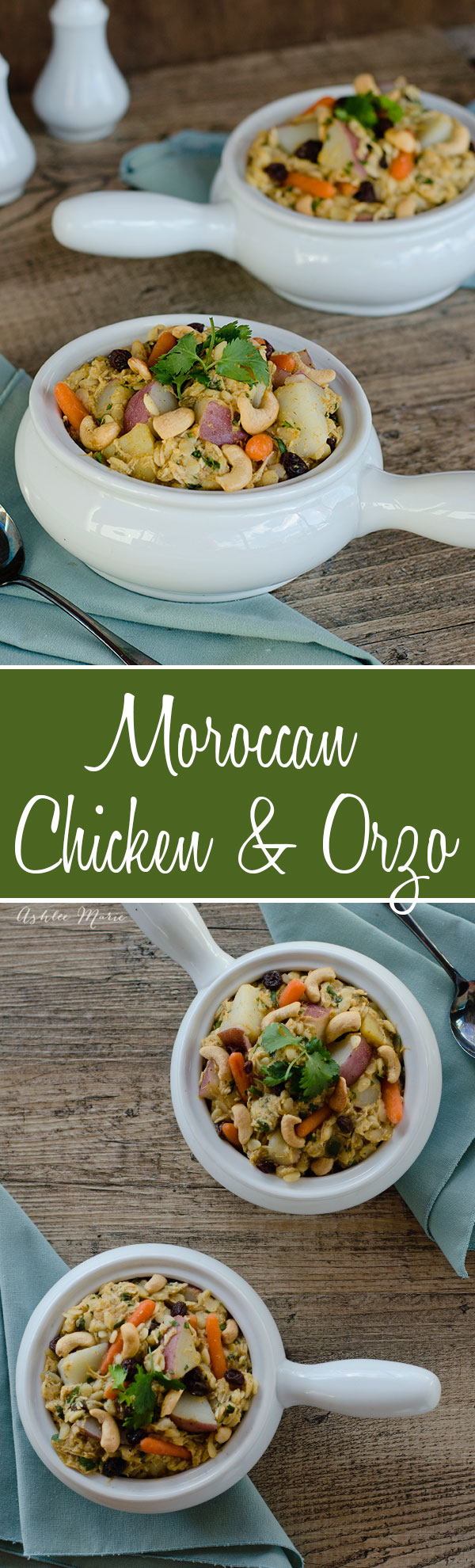 This Moroccan chicken and Orzo dish is based on a slowcooker packet that I have amped up