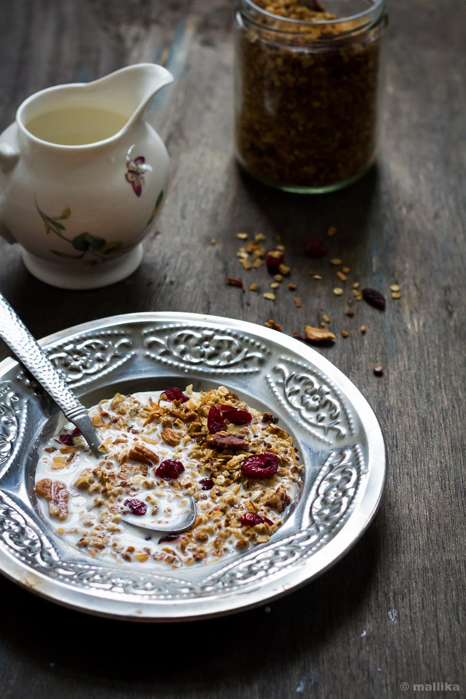 Pecan, Cranberry, Coconut Granola Plated