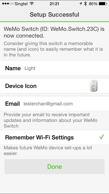 WeMo iOS App - Switch Setup Done