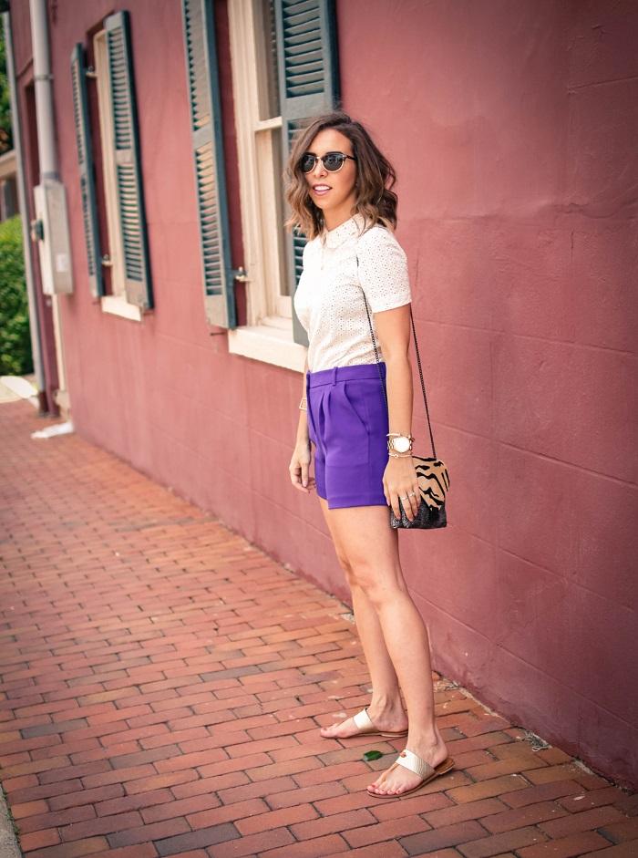 aviza style. andrea viza. fashion blogger. dc blogger. midi shorts. eyelet top. eyelet peter pan collar. joie flip flops. preppy summer style. 8