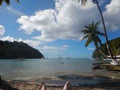 Chillin' on the beach in Marigot Bay