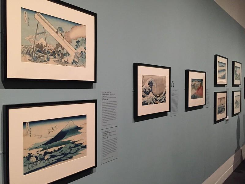"Hokusai, prints from ""Thirty-six Views of Mount Fuji"" (富嶽三十六景 Fugaku Sanjūrokkei), including The Great Wave off Kanagawa (神奈川沖浪裏) & Fine Wind, Clear Morning (凱風快晴 Gaifū kaisei)"