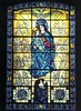 Our Lady of Mercy stained glass window Sisters of Mercy foundress Mother Catherine McAuley at the bottom of window
