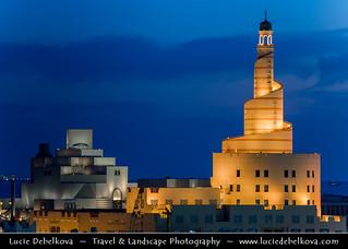 Qatar - Doha - Fanar - Spiral Minaret &  Museum of Islamic Arts - MIA at Dusk - Twilight - Blue Hour
