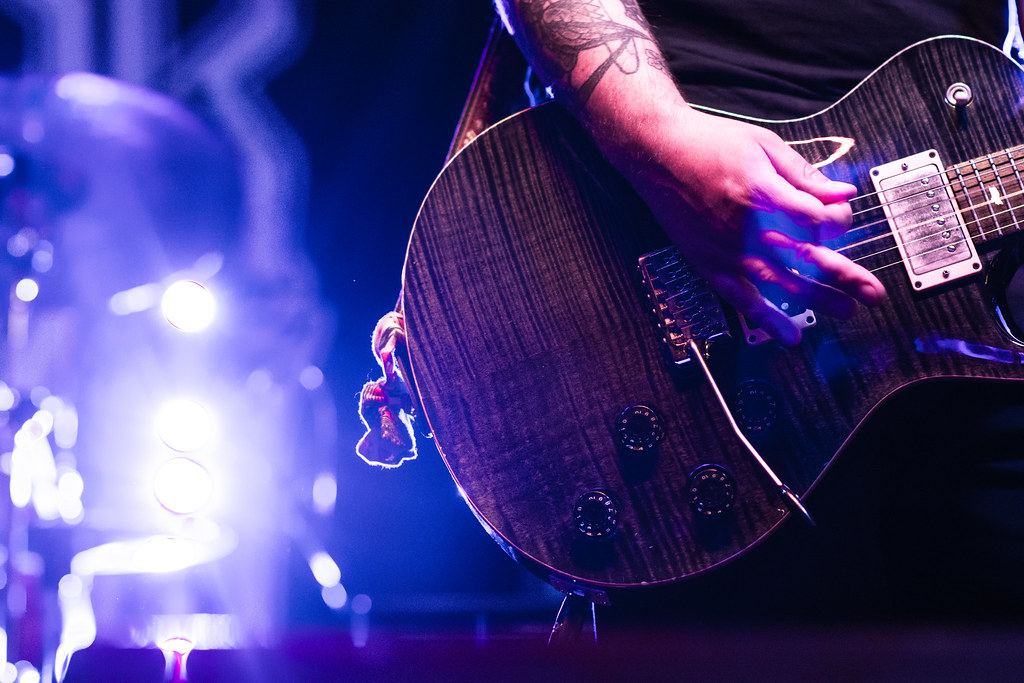 guitar, blue, stage light, hand, strum, electric guitar, gig, band photography