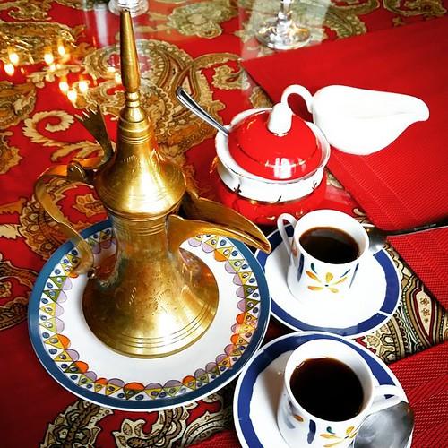 Turkish Coffee served in an Ibrik