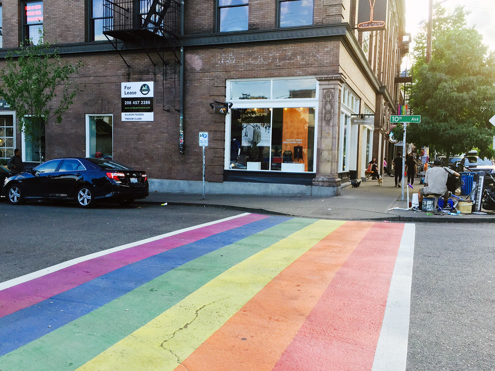 rainbow crosswalk in Seattle3