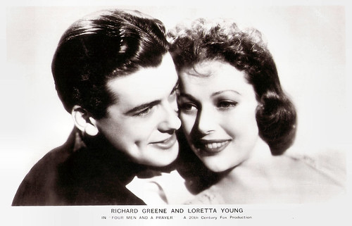 Richard Greene and Loretta Young in Four men and a Prayer (1938)