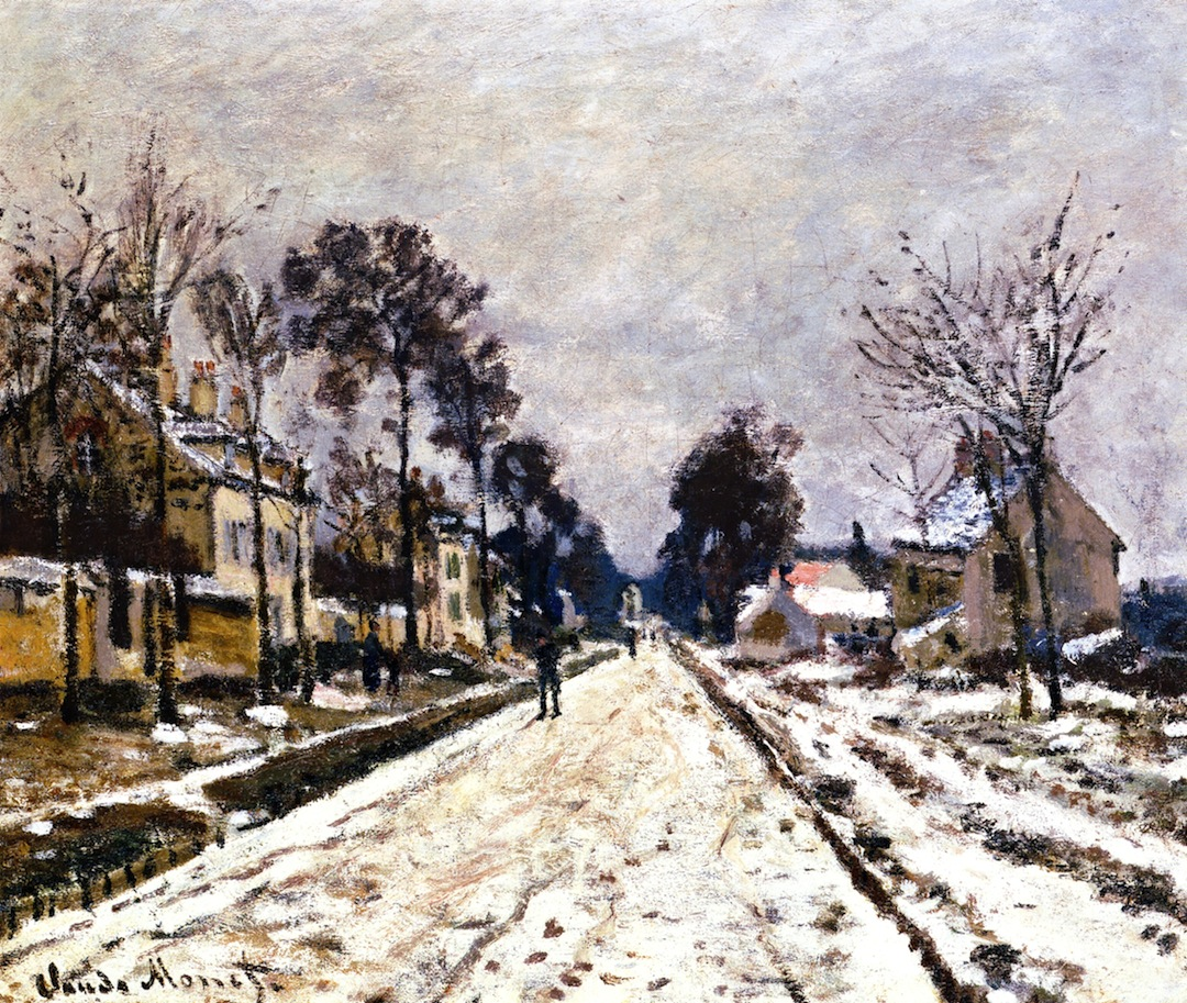 Road at Louveciennes, Snow Effect by Claude Oscar Monet - 1869-1870