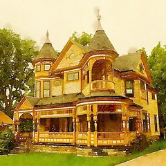 Historic Victorian Home, Bedford, Ohio (Watercolor) Another lovely home in my wife's hometown of Bedford, Ohio. This one is a much later vintage in high Victorian splendor. The current owners have obviously put a lot of time, attention and, I would guess,