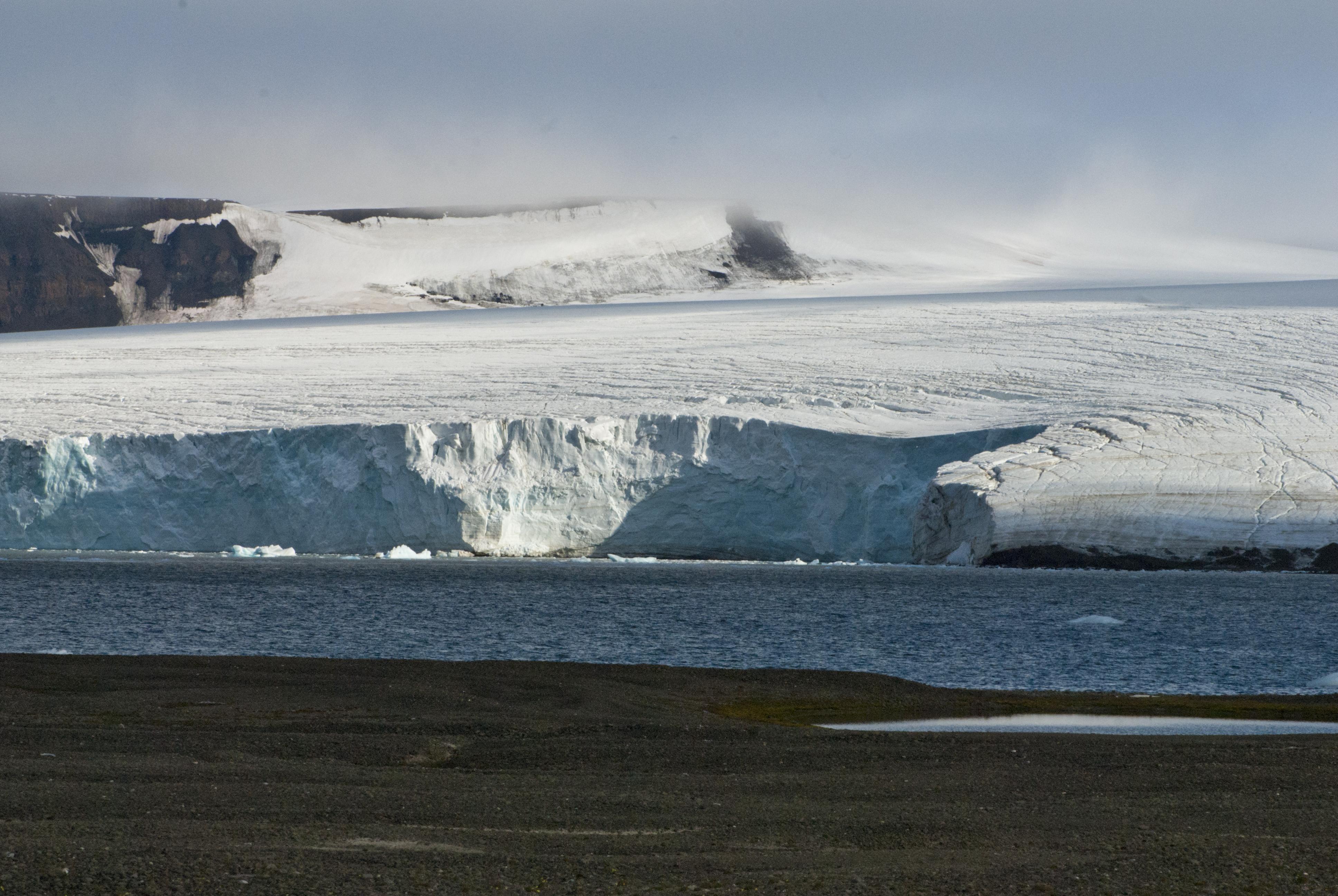 glacier front on mabel island franz josef land russian arctic