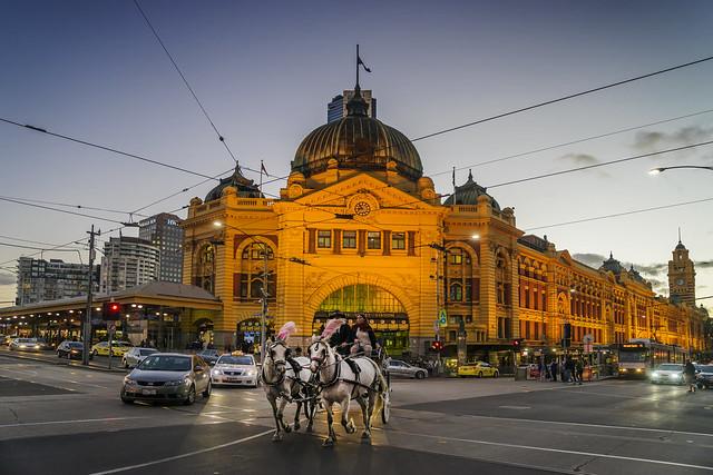 Horses before Flinders Street Station