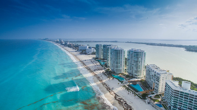Cancun beach aerial