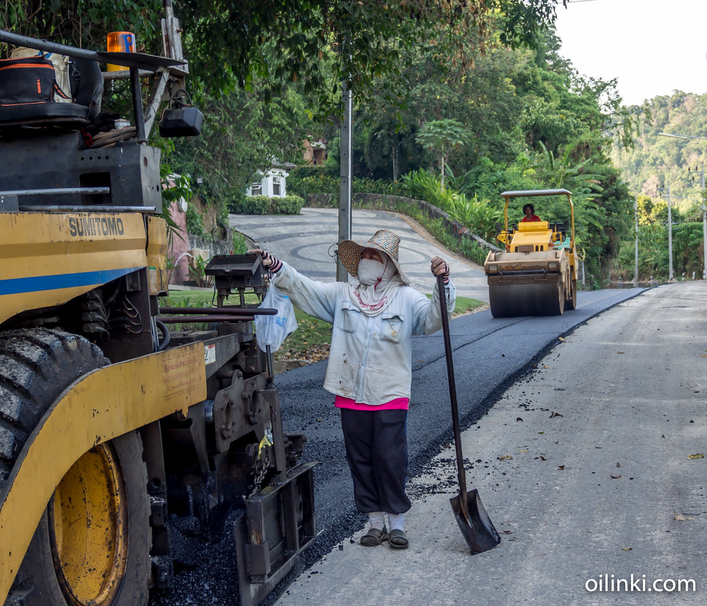 The final step - the new asphalt to a road in Phuket Thailand