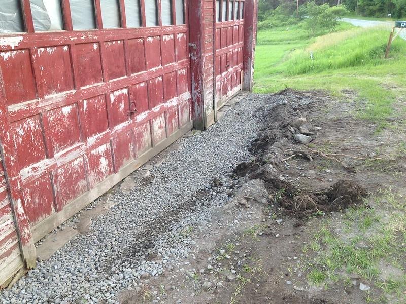 Gravel installed over drainage