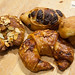 "Almond croissant, cheese croissant, chocolate viennoiserie, apple ""mushroom"" brioche"