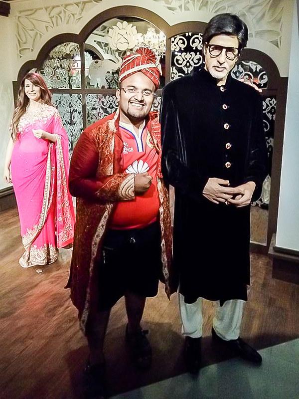 Hrish Thota Nivedith Gajapathi Amitabh Bachchan and Nivedith G Madam Tussauds