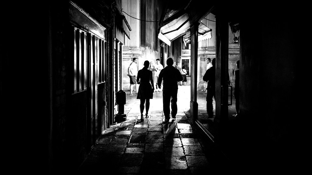 From the dark venice italy black and white street photography
