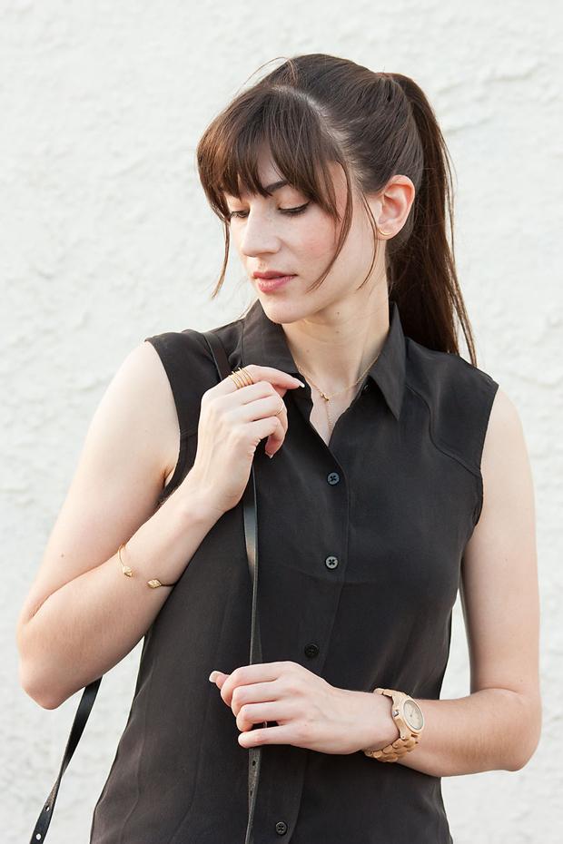 Everlane Silk Shirt, Stella and Dot RIng