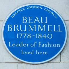 Photo of Beau Brummell blue plaque