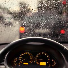 rain droplets on car windshield