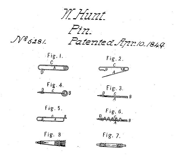 Walter Hunt's Safety pin Patent 6281