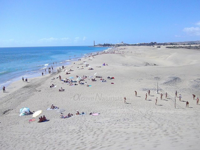naturist volleyball & view 0000 Mas Palomas, Gran Canaria, Canary Islands, Spain