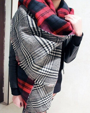 Blanket Scarf, 2-tone plaid