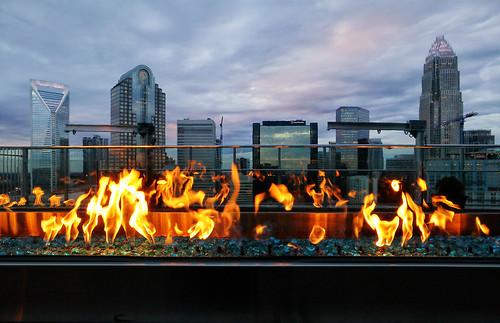 charlotte skyline fire canoneosm5 canonefm1122 rooftop sky sunset city cityscape