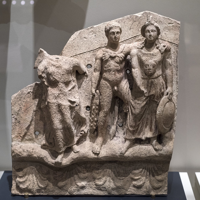 Etruscan terracotta pediment relief from a shrine with relief figures of Victory, Hercle, and Menrva (1)