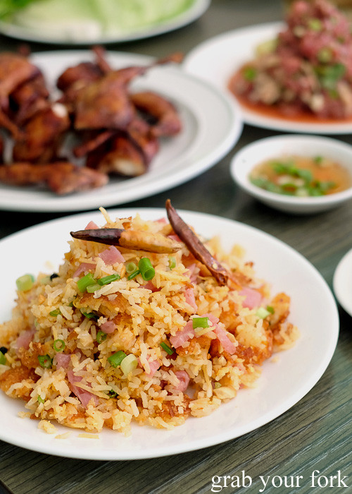 Lao fried rice with pickled pork at Phounguen Lao and Thai Restaurant, Cabramatta