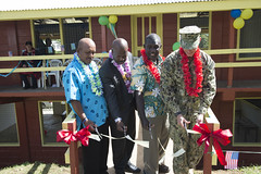 (left to right) Vura Primary School Principal Allen Ketei, Acting Prime Minister of Solomon Islands, Hon. Douglas Ete, Chief Executive Officer of Honiara City Council, Wayne Koebule and Commodore, Task Force Forager, Capt. James Meyer cut a ribbon to mark the reopening of Vura Primary School.