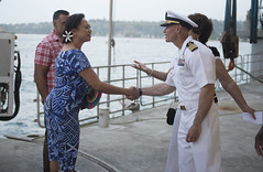 Commodore, Task Force Forager Capt. James Meyer welcomes a representative from the local government to the closing reception of Pacific Partnership 2015 in the Solomon Islands. (U.S. Navy/MC1 Carla Burdt)