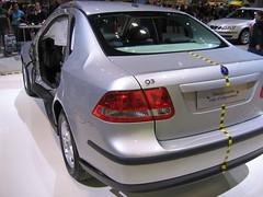automobile(1.0), automotive exterior(1.0), executive car(1.0), wheel(1.0), vehicle(1.0), automotive design(1.0), auto show(1.0), saab automobile(1.0), compact car(1.0), bumper(1.0), sedan(1.0), saab 9-3(1.0), land vehicle(1.0), luxury vehicle(1.0),