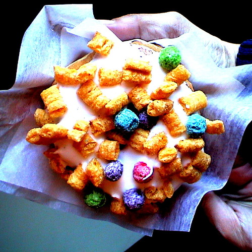 Eat cereal for breakfast! (on a doughnut)