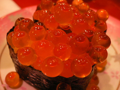 Orange fish egg flickr photo sharing for Fish eggs on sushi