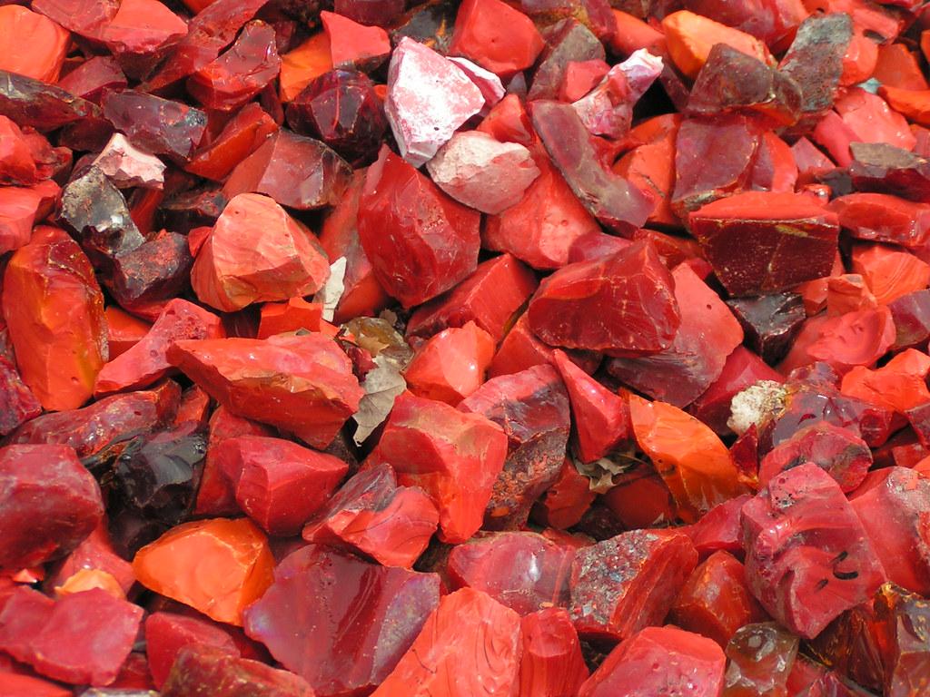 Red quartz crystal