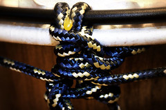 halter(0.0), jewellery(0.0), chain(0.0), iron(0.0), bracelet(0.0), necklace(0.0), yellow(1.0), knot(1.0), rope(1.0), blue(1.0), black(1.0),