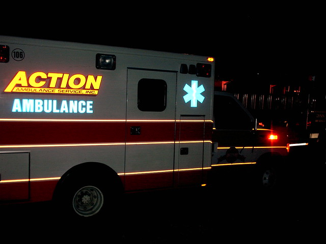 Ambulance At Night One Of The Two Ambulances That