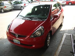 automobile, automotive exterior, vehicle, honda, city car, bumper, honda fit, land vehicle,