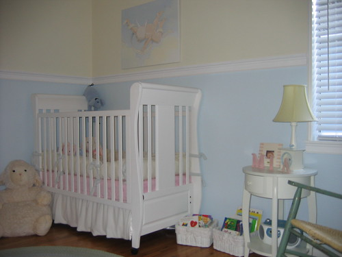 Post pics of nursery chair rail for Chair rail height in living room
