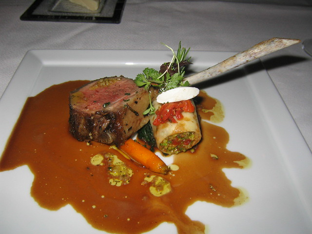 6th course rack of lamb with a goat cheese quenelle and for Lamb jus